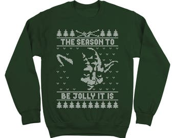 Jolly Yoda Ugly Christmas Sweater Funny Xmas Humor Star Wars Party Outfit Crewneck Sweatshirt DT1640