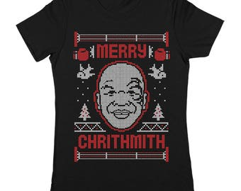 Merry Christmith Tyson Christmas Xmas Funny Humor Ugly Sweater Party Women's Jr Fit T-Shirt DT1608