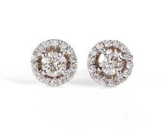 Halo Diamond earrings-White gold studs-Inspirational earrings-Anniversary gifts-Art nouveau earrings-Gift for Her-Birthday gift for her