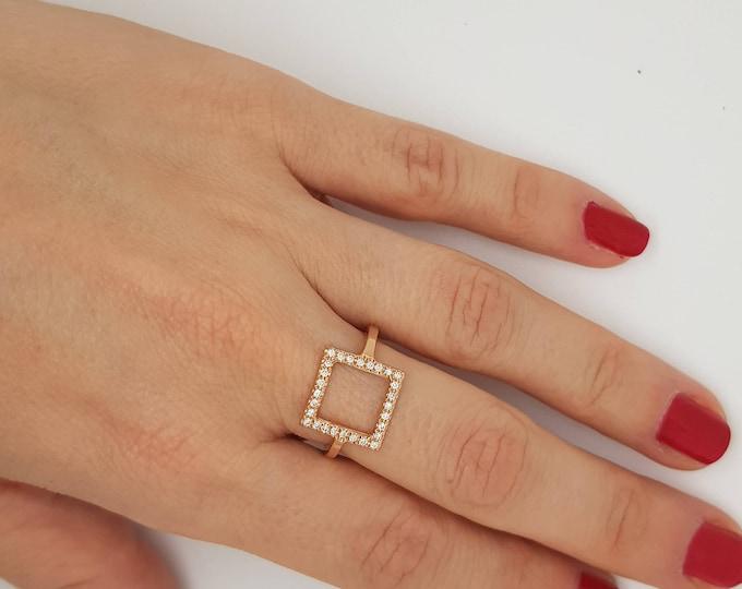 Micro pave band-Art nouveau ring-Diamond  Ring- Diamond Oval Ring-14k rose gold ring- Fashion jewelry- Gold Statement Ring-Minimalist ring