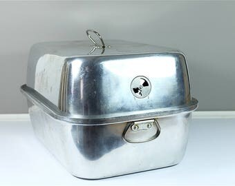 Vintage Rustic Wear Ever roasting pan #325 from the 60' - Retro Wear Ever vented Roaster - Large rectangular turkey Roaster