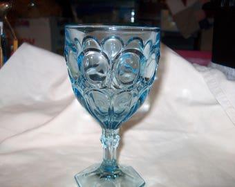 6 Vintage Glass Goblets, Light Blue, Glasses, WAS 50.00 - 25% = 37.50