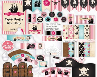 Pink Pirate party decorations - editable package -  pirate printable decoration set - girl pirate party - INSTANT DOWNLOAD
