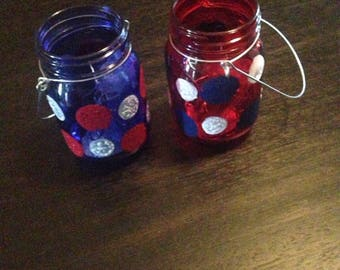 Red, White and Blue Americana Mason Jar Fairy Lights...set of two