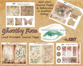 Ghostly Rose Digital Lined Journal Pages DIGITAL DOWNLOAD ONLY!!, Journal Kit, Glue Book, Flow Journal, Smash Book, Journal