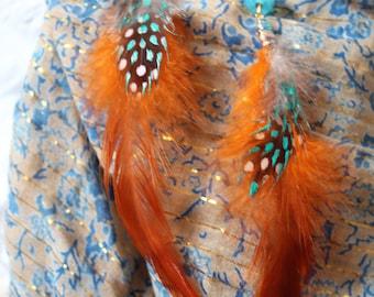 orange feathers earrings