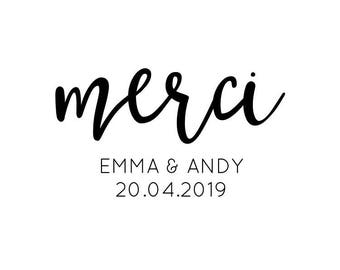 """Custom Merci Stamp, thank you stamp, compliments stamp, custom names and date, favours and labels stamp, calligraphy, 1.8""""x1"""" (cts209)"""