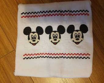 Faux Smocked Mickey face