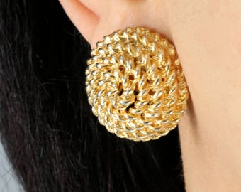 Large Gold Tone rope Dome Clip On Earrings - Circle Rope Clip On Earrings