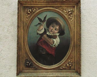 19th c. Victorian Portrait Oil Painting Boy w/ Birds in Fancy Frame Gilt Wood and Gesso with Flowers after Jean-Baptiste Greuze Antique
