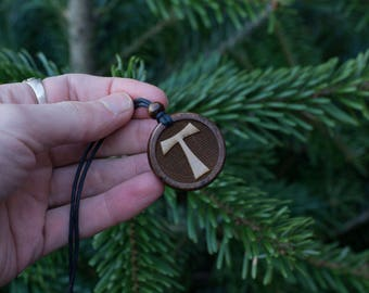 Wooden Cross Necklace, Christian Necklace, Tau Cross Pendant, Christian Jewellery, Cross Necklace for Women, First Communion Gift.