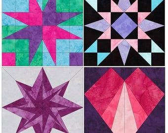 Exciting Set 1 - 10 Inch Foundation Paper Piecing Quilting 4 Block Patterns PDF