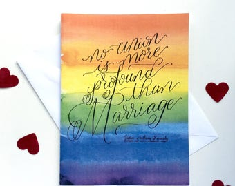 Wedding card - No union is more profound than marriage - Justice Kennedy Quote - lgbt, gay wedding, lesbian wedding - GLBT Couple Gift