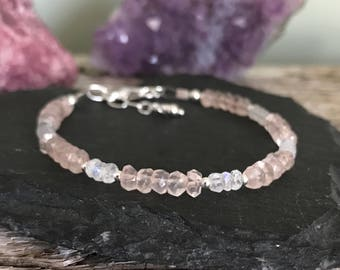 Moonstone Rose Quartz Bracelet, faceted rainbow moonstone rose quartz sterling silver gemstone bracelet
