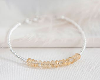 November Birthstone Bracelet, Dainty Citrine Bracelet, Stacking Bracelet, Sterling Silver, Citrine Jewellery, November Birthstone Jewelry