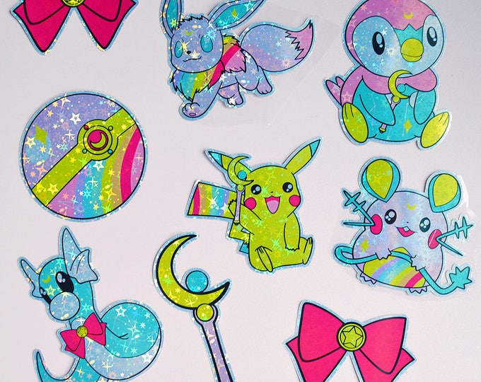 Featured listing image: Sailor Moon X Pokemon V2 Themed Sticker Pack