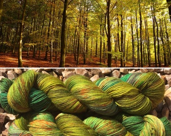 Autumn is Coming, indie dyed merino nylon sock yarn in speckled fall greens