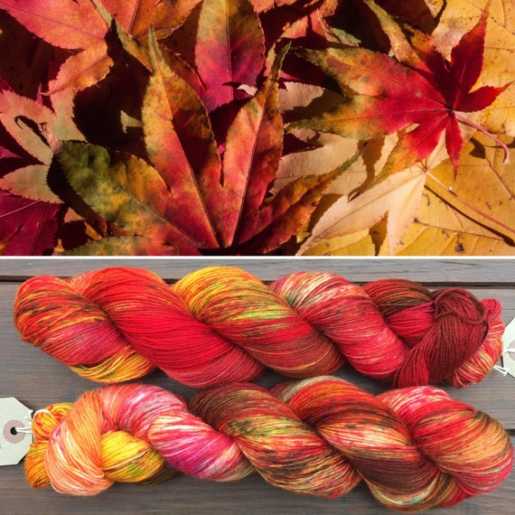 Leaf Litter, indie dyed merino nylon autumn sock yarn in fall colours
