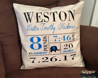 Personalized Birth Announcement Pillow Cover - Boys Nursery Pillow