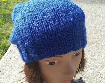 Slouchy Hat Beanie, Royal Blue Slouch hat, Unisex slouchy beanie, Royal Blue Beanie, Snowboarding Slouchy, Blue Knit hat, Slouch Beanie Hat