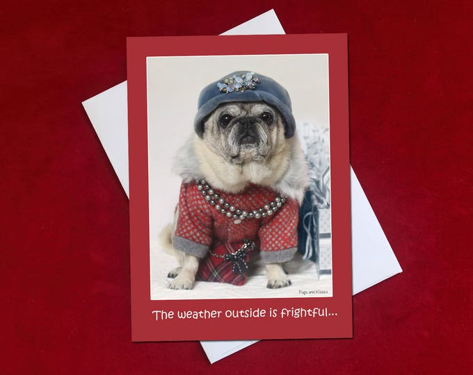 NEW Funny Holiday Card - Pug Holiday Card - 5x7 - The Wine's Delightful