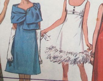 "Evening dress pattern, Simplicity 8495, 1960s Misses' Dress in Two Lengths and Stole, Size 16, Bust 38"", Cut and complete"