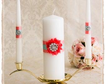 Custom Color Wedding Unity Candles Set, Personalized Wedding Candles, Wedding Unity Candle Set, Coral and Aqua Wedding Candle