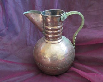 Copper Pitcher, Metal Pot, Middle Eastern, Wise Men - Mixed Metals, Arabic, Classic Design for Excellent Home Décor - Large - Free Shipping!