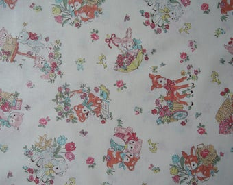 "Fat Quarter of Atsuko Matsuyama 30s Collection Baby Animals on Cream Background by Yuwa Fabric. Approx. 18"" x 22"""
