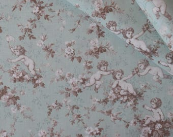 "Half Yard of Yuwa Victorian Cherubs Floral on Vintage Mint Background. Approx. 18"" x 42"" Made in Japan."