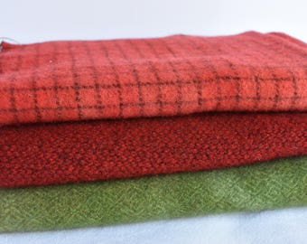 Hand dyed wool bundle - Christmas reds and green - 3 fat quarters - rug hooking wool - over dyed wool - penny rug and appliqué wool - fabric