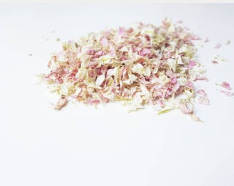 Ivory and Candy floss pink Natural wedding / Delphinium confetti / Petal -Biodegradable