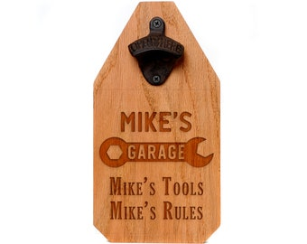 Wood Sign for Garage - Personalized My Tools My Rules Rustic Bottle Opener