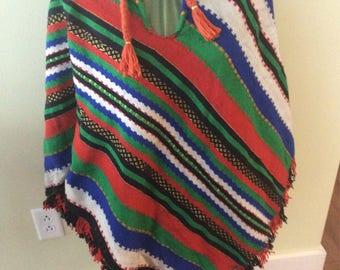 Vintage Knit Wool Blend Poncho Shawl