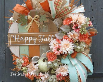 Fall Wreath - Fall Wreath for Front Door - Fall Deco Mesh Wreath - Fall Mesh Wreath - Autumn Door Wreath - Fall Door Wreath - Autumn Wreath