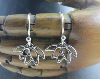 Sterling silver lotus flower earrings, lotus flower earrings, blooming lotus earrings, yoga earrings, flower earrings, nature earrings