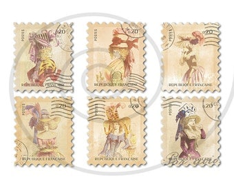 Fake stamps. Old postage stamps. Vintage digital stamps. Postage stamp art. Digital collage sheet. 18th Century fashion in France. PNG