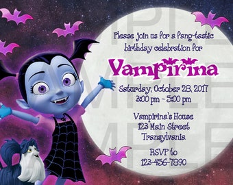 New!! Vampirina Moonlight Birthday Invitation, DIGITAL DOWNLOAD FILE, 5x7, 4x6