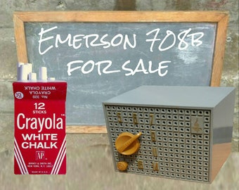 Vintage slate colored 1955 Emerson AM tube radio Model 708