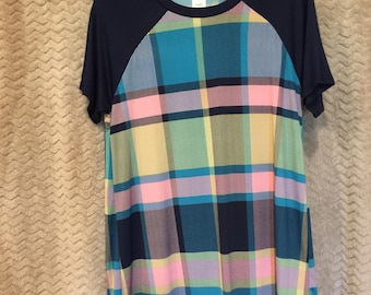 Multiple color plaid short sleeve top.  BRAND NEW with Tags