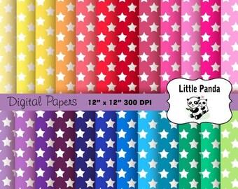 70% OFF SALE Rainbow Stars Digital Scrapbooking Papers 24 jpg files 12 x 12 - Instant Download - D203