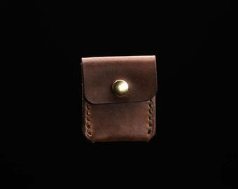 Guitar Pick Holder - Horween Dark Coffee Dublin - Legacy Brand Leather Hand Stitched