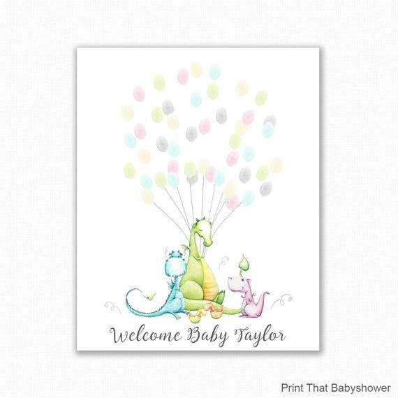 Baby Shower Fingerprint Guest Book Dragon Giraffe Baby Shower
