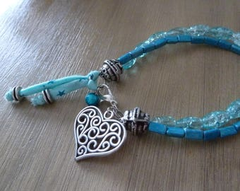 Bracelet two rows lOVE 2 in 1 blue