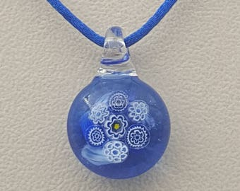 Royal blue floral pendant, bright blue, unique gift, cheerful jewellery, glass art