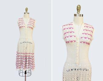 1970s Mille-Feuille Dress { XS-S } Sleeveless Hand Crochet Dress