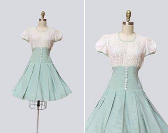 1950s Pomona Dress { S } Early 60s Full Skirt Eyelet Mini Dress