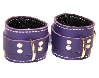 Purple Leather Locking Cuffs with Black  Leather Lining - Pair of Wrist Cuffs (or) Ankle Cuffs