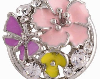 KC8816 ~ 3D Pink/Yellow Enameled Flowers with Purple Butterfly Set off with Clear Crystals