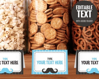 Blue Mustache Place Cards - Editable Buffet Cards - Food Tent Cards - Printable Little Man Baby Shower Table Signs - Baby Boy Decorations